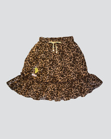 Eco-Punk Skirt Twirl Meow Brown