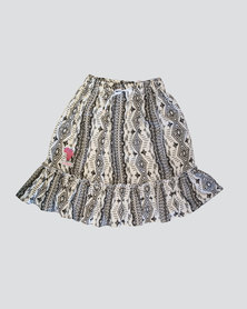 Eco-Punk Skirt Twirl Pattern Grey Black