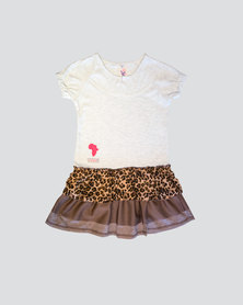 Eco-Punk Frills Meow Dress Brown and White