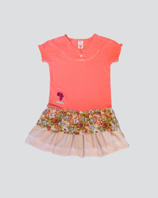 Eco-Punk Frills Roses Dress Coral Pink