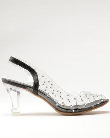Queenspark Vinyl Sling Back Sandals With Mini Sparkles Silver