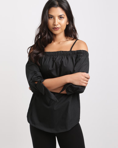 Utopia Cotton Bardot Top Black