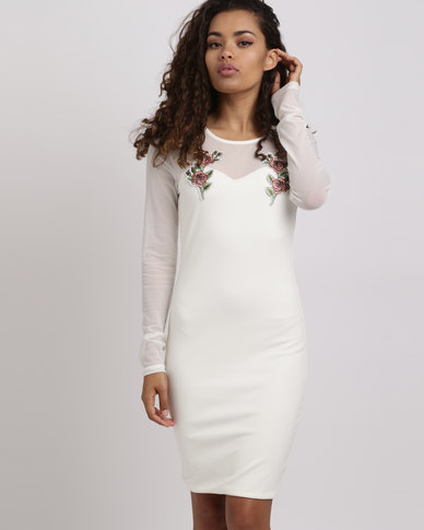 Brett Robson Cora Fully Lined Dress With Mesh Sleeves & Embroidery Cream