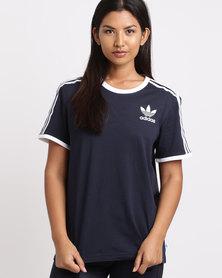 adidas 3 Stripes Tee Blue