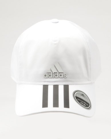adidas Performance 6 Panel 3-Stripes Climalite Cap Black & White