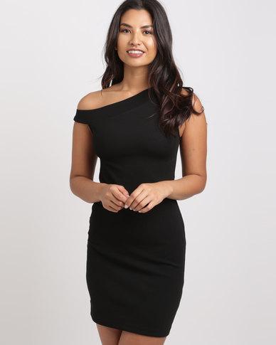 Utopia One Shoulder Ponti Dress Black