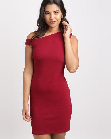 Utopia One Shoulder Ponti Dress Burgundy