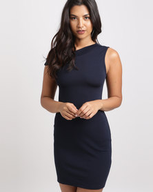 Utopia One Shoulder Ponti Dress Navy