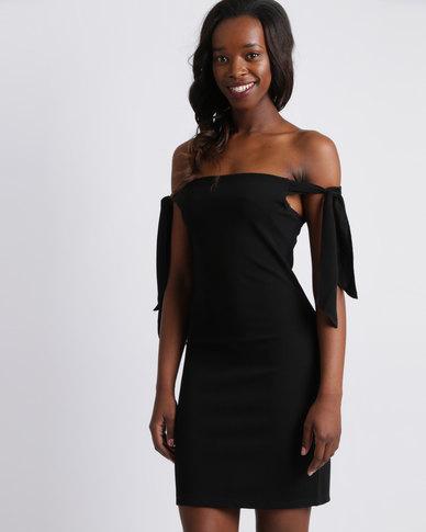 Utopia Ponti Bardot Dress With Tie Sleeves Black