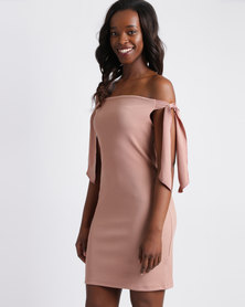 Utopia Ponti Bardot Dress With Tie Sleeves Blush