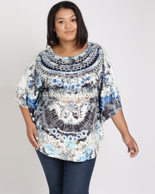 Queenspark Plus Kaftan Slinky Knit Top Black