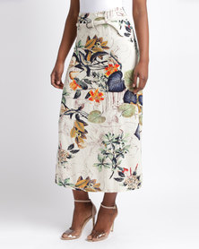 Queenspark Floral Delight Printed Woven Skirt Multi