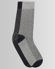 JCrew 2Pack Fancy Design Socks Grey/Navy