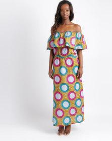 Pengelly Khanya Frill Off The Shoulder Print Maxi Dress Multi
