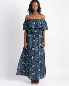 Pengelly Khanya Frill Off The Shoulder Print Maxi Dress Purple