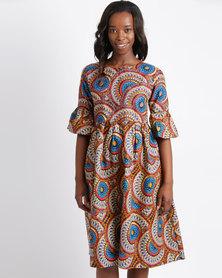 Pengelly Khanya Frill Sleeve With Pocket Detail Dress Multi