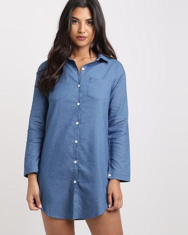 4a1e9e37b8 Royal T Trendy Denim Shirt Dress Blue