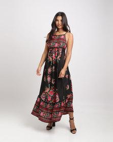 Royal T Stunning Boho Floral Maxi Dress Black