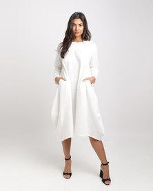 Royal T Linen Kaftan Dress White