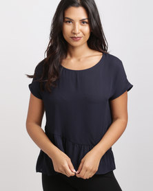 Utopia Georgette Ruched Top Navy