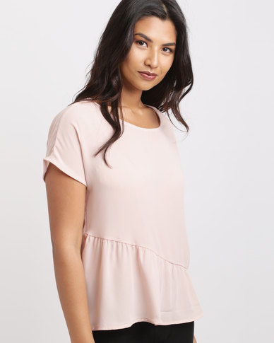 Utopia Georgette Ruched Top Nude