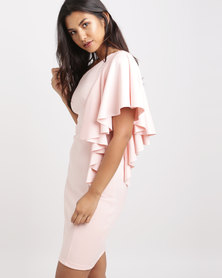 Utopia Frill One Shoulder Dress Blush