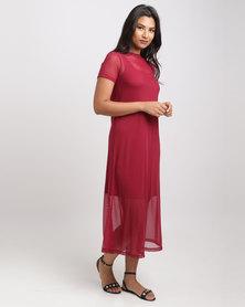 Utopia Mesh Tunic Dress Burgundy