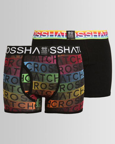 Crosshatch Prizion 2 Pack Boxers Black