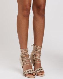 Public Desire Athena Heeled Sandals Nude