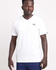 Puma ESS V-Neck Tee White