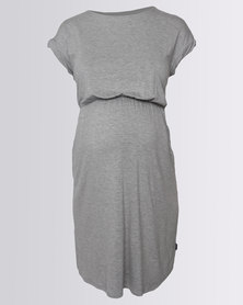 Cherry Melon Twisted T-Shirt Dress With Pocket Grey Melange