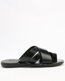 Paolo Falcone Limbara Leather Casual Slip On Sandal Black