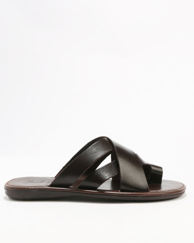 best place for sale low price sale online Paolo Falcone Paolo Falcone Limbara Leather Casual Slip On Sandal Choc outlet extremely rq1098ljID