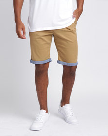 Soviet Men's Crew Cotton Shorts Khaki