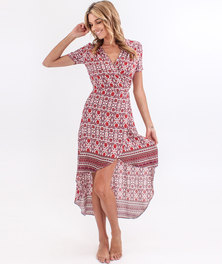 O'Neill Leelee Maxi Dress Red Floral