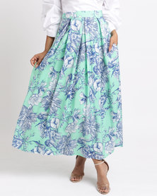 Thirty Rogue Fully Lined Long Skirt Green
