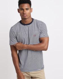 Stephan Fine Stripe T-Shirt Navy