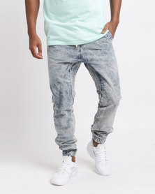 Sons Of Edwardian Stone Washed Jogger Jeans Blue