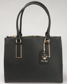 Call It Spring Bernards Ladies Double Top Zip Tote With Removable Key Fob Black