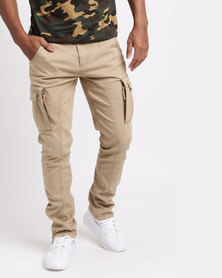 Nefarious London Skinny Cargo Pants Dune Khaki
