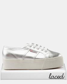 Superga Metallic Wedge Sneaker Silver