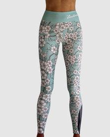 Vivolicious Blossoms Performance Leggings Turquoise