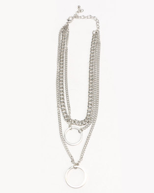 New Look TS Layered Circle Chain Choker Silver Tone