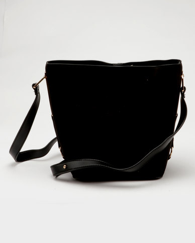 b9d98a5bdae1 New Look Bethan Suedette Bucket Bag Black