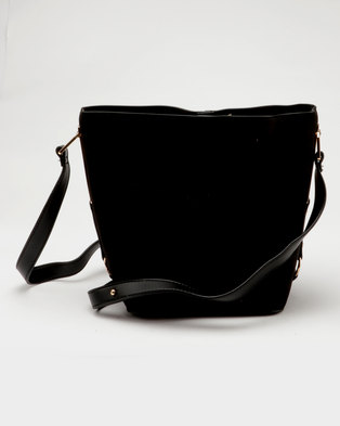 c13407be1dd9 New Look Bethan Suedette Bucket Bag Black