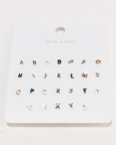 New Look Alphabet Stud Earrings Pack Multi