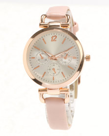 New Look Rose Gold Trim Watch Pink