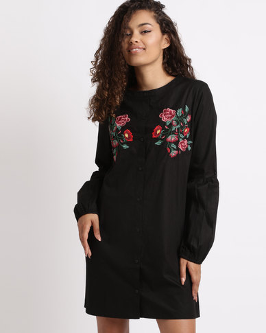 London Hub Fashion Embroidered Balloon Sleeve Shirt Dress Black