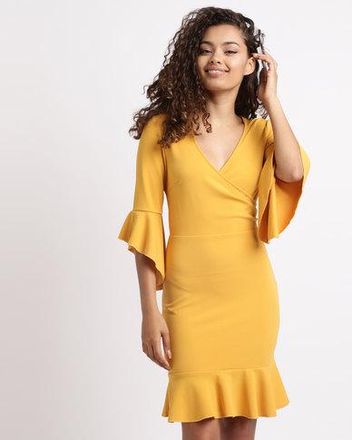 London Hub Fashion Frill Trim Bodycon Dress Mustard