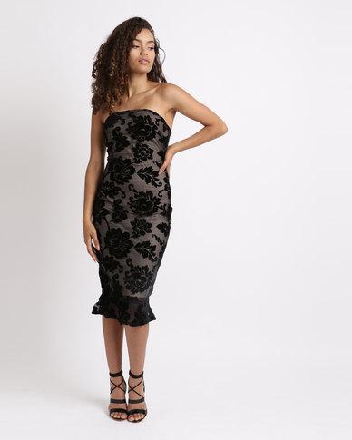 London Hub Fashion Floral Burn Out Velvet Strapless Midi Dress Black